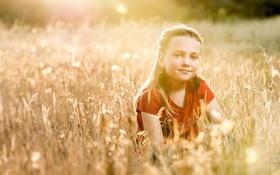 Картинка поле, настроение, девочка, лето