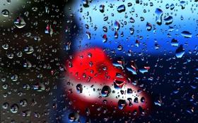 Обои стекло, вода, капли, огни, фонарь, автомобиль