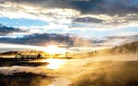 Картинка закат, пейзаж, фото, туман, мостик, озеро