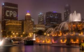 Обои ночь, город, огни, небоскребы, Чикаго, фонтан, США