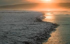 Обои закат, волна, море