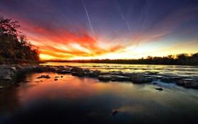 Обои закат, камни, река, небо