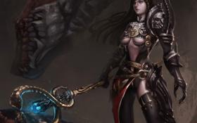 Обои арт, девушка, посох, змея, монстр
