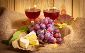 Обои листья, бумага, вино, сыр, бокалы, виноград, ткань