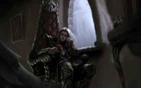 Картинка роза, кресло, окно, арт, вампир, парень, трон