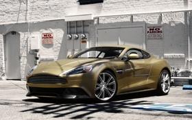 Обои Aston Martin, Front, Building, Supercar, Vanquish