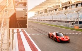Обои McLaren, Авто, Дорога, Машина, Оранжевый, Автомобиль, Трибуны