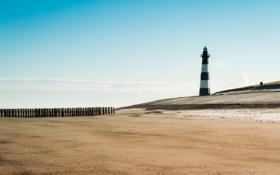 Обои море, пляж, пейзаж, маяк
