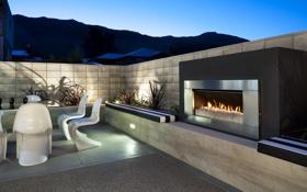 Картинка дизайн, стиль, интерьер, камин, терраса, жилое пространство, outdoor