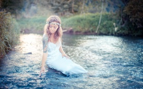 Картинка вода, девушка, поза