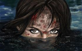 Картинка глаза, Lara Croft, кровь, Tomb raider, девушка, выживание, вода