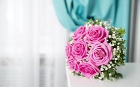 Картинка цветы, розы, букет, розовые, rose, pink, flowers