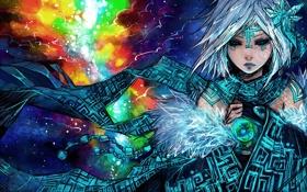 Картинка девушка, абстракция, рисунок, тату, арт, сфера
