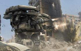 Картинка фантастика, война, Робот, арт, солдаты, нападение, руины