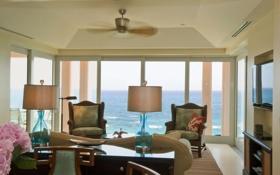 Обои дизайн, дом, стиль, вилла, интерьер, жилая комната, ocean views from the livingroom
