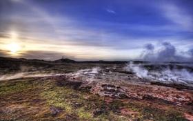 Обои пейзажи, дым, скалы, фото, камни