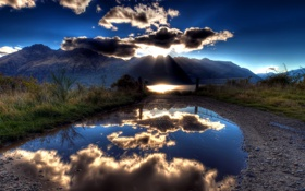 Картинка солнце, природа, камни, лужа