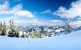Картинка зима, небо, солнце, лучи, снег, горы, елки