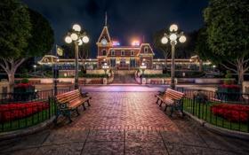 Обои фонари, Калифорния, Диснейленд, скамейки, California, Disneyland, Анахайм