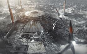 Картинка трубы, город, самолет, будущее, дым, корабль, здания