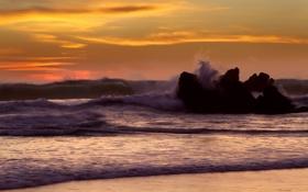 Обои море, волны, вода, брызги, природа, скала, камни