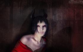 Картинка Девушка, демон, рога, красные глаза