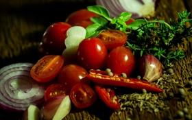 Обои зелень, лук, перец, помидоры, чеснок