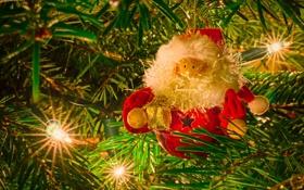 Обои иголки, ёлка, гирлянда, Дед Мороз, лампочки