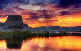 Обои небо, трава, скала, сша, аризона, юта, озеро пауэлл