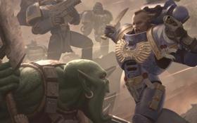 Обои война, бой, warhammer, space marine, Warhammer 40K, orc