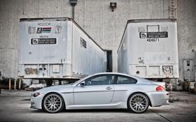 Обои bmw, бмв, купе, серебристый, профиль, wheels, диски