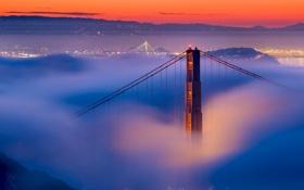 Обои Калифорния, золотые ворота, туман, Сан-Франциско, мост, вечер