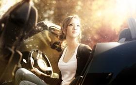 Картинка машина, взгляд, девушка, свет, кабриолет