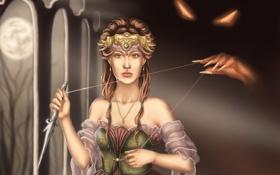 Обои глаза, взгляд, девушка, украшения, оружие, рука, управление