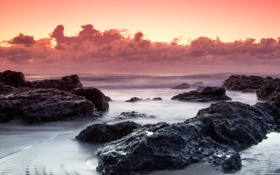 Картинка пляж, облака, пейзаж, рассвет, берег