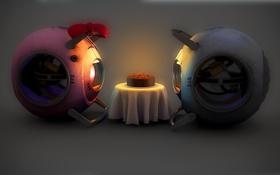 Картинка роботы, портал, пирог
