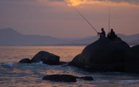 Обои море, пейзаж, закат, настроение, отдых, Китай, рыбаки