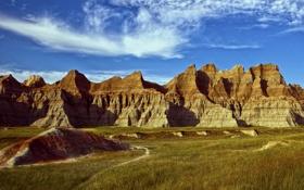 Обои дорога, небо, горы, скалы, долина, порода