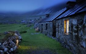 Картинка свет, камни, зеленая трава, крыши, окно, строения, каменные домики