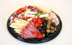 Обои сыр, оливки, колбаса, маслины, ветчина