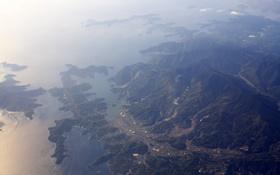 Обои море, горы, вид сверху