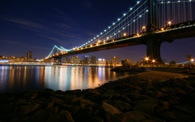 Обои Bridge, Night, Manhattan