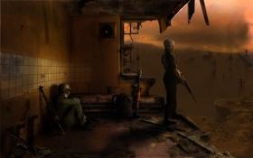 Картинка мужик, солдат, девушка, город, stalker