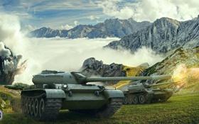 Обои танк, USSR, СССР, танки, Т-54, WoT, Мир танков