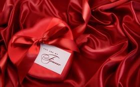 Картинка красный, подарок, сердце, лента, бант, атлас, forever
