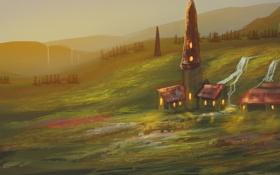 Обои деревья, дома, арт, нарисованный пейзаж