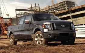 Картинка небо, стройка, грязь, ford, форд, пикап, f-150