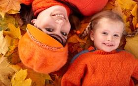 Картинка осень, листья, девушка, парк, девочка, ребёнок, улыбки