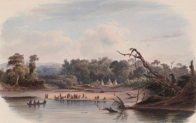 Картинка 1837, живопись, painting, Karl Bodmer, Tents of the punca indians on the banks of the ...