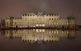 Картинка ночь, огни, Австрия, дворец, palace, Вена, Upper Belvedere